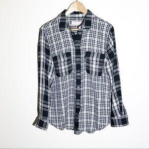 PHILOSOPHY black and white plaid long sleeve shirt